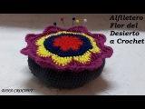 Alfiletero Flor del Desierto a Crochet o Ganchillo