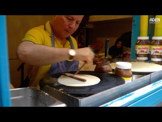 French Street Food in Paris: Banana Nutella Crepes with Almond and Coconut