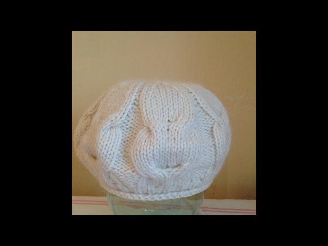 Берет Тюльпан.Вязание зимнего берета со жгутами,часть2