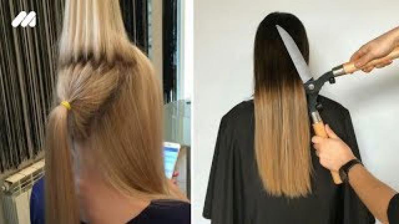 10 модных причесок на средние волосы ПУЧОК мальвинка стильные ХВОСТЫ