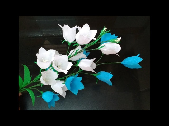 How to make Crepe Paper Flowers Peach Leaf Bellflower / Campanula persicifolia (flower 260)