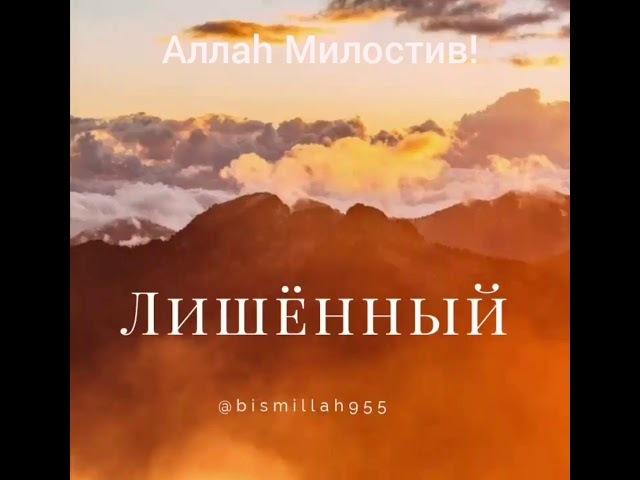 Аллаh Милостив! Но человек сам себя лишает всех благ