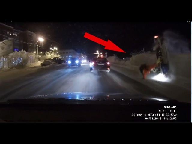 На снегоходе с переворотом на главную дорогу-2018