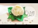 DIY Роза из атласных лент на зажимах своими руками канзаши hair clip - rose with rhinestones