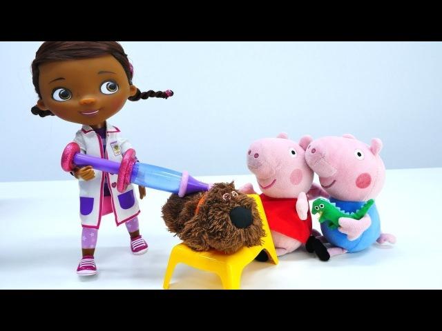 Spielspaß mit PeppaWutz🐷 und DocMcStuffins - 🐶Termin bei der Ärztin - Puppen Video für Kinder