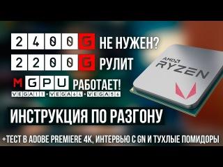 Разгон AMD Ryzen APU 2200G и 2400G, тест mGPU с Vega 64 / 56, интервью с GN и помидоры