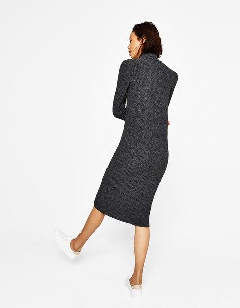Длинное платье с воротником с отворотом