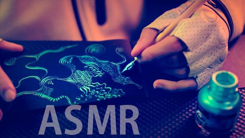 ASMR Sleep Art Ink Doodling with Scratching Calligraphy Nib Pen NO TALKING