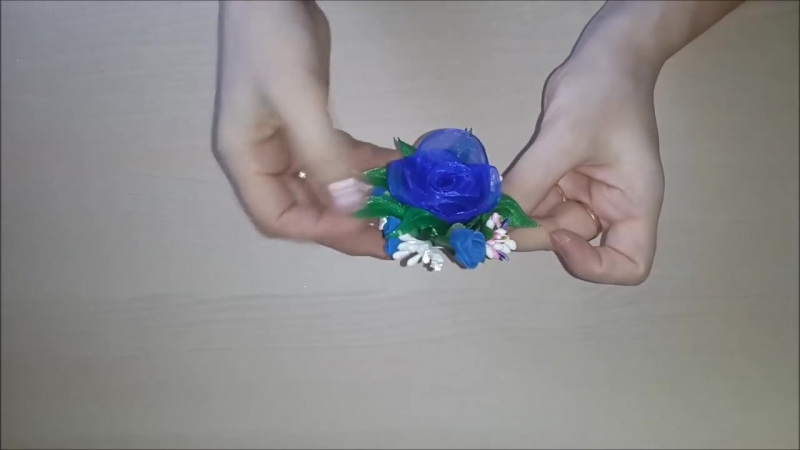 Заколки Канзаши. Синие Розы. Органза