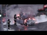 Пожар и взрыв машины с газовым баллоном