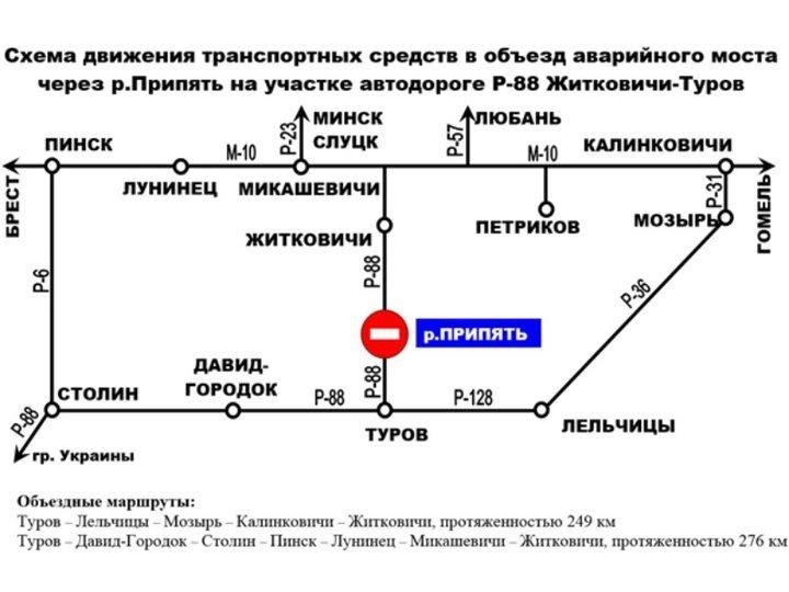 В Житковичах треснул и просел автомобильный мост. Как попасть в Гомель из Брестской области?