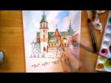 The Wawel Cathedral - watercolor painting process time lapse