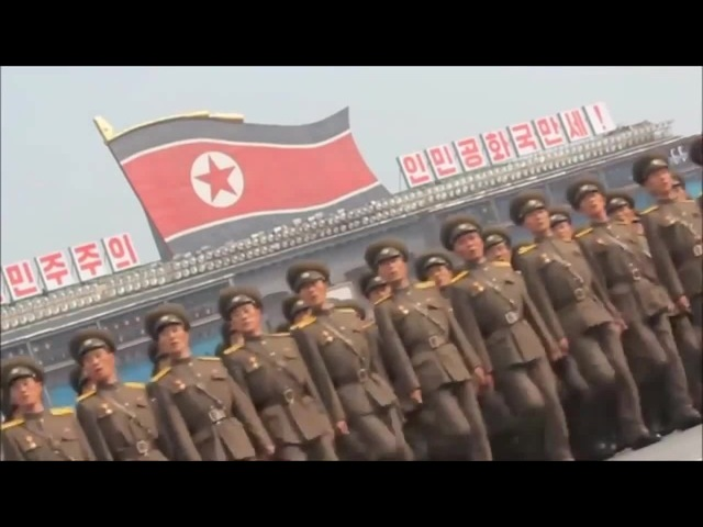 Ghostbusters music over the N Korean Army Marching