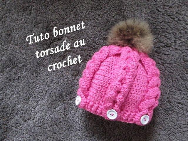 TUTO BONNET TORSADE CROCHET hat beanie crochet GORRO TORSADAS CROCHET RELIEVE