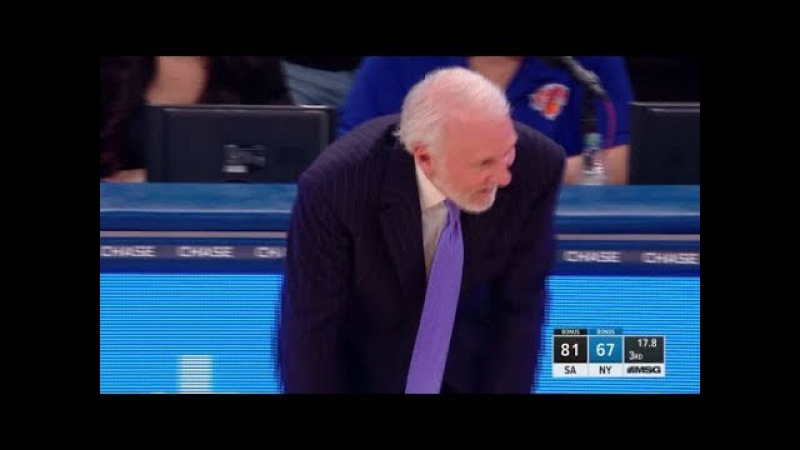Manu Ginobili's Crazy 3 Pointer Pop Can't Believe It Spurs vs Knicks Jan 2 2017 18 NBA Season
