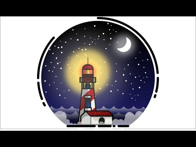 Light House Vector Illustration Using Inkscape