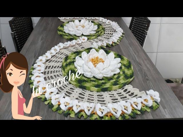 Trilho de mesa Vitória régia de crochê
