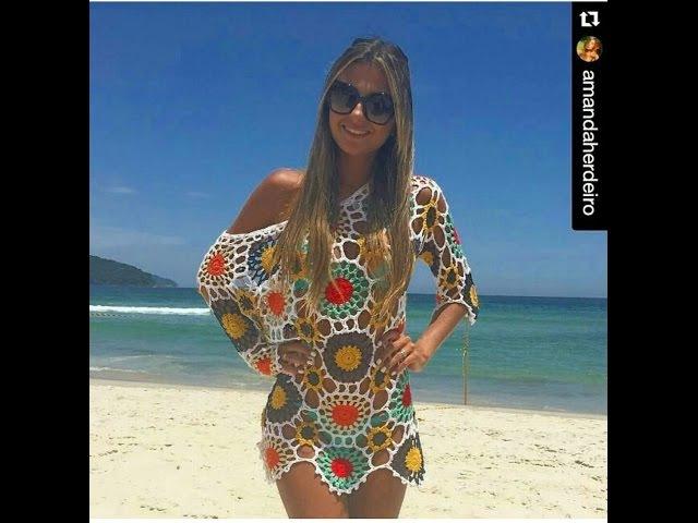 Saída de praia motivos coloridos parte 5 final Viviane Santos