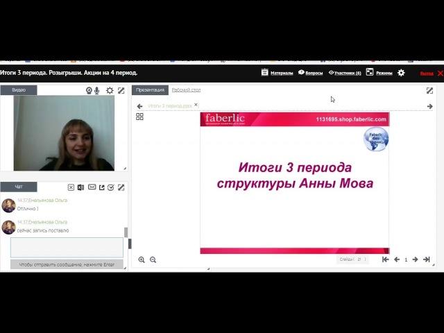 Итоговый вебинар 3 периода Проект Faberlic без границ Анна Мова