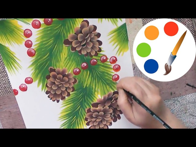Christmas art, Paint a Christmas tree with cones, double stroke, irishkalia