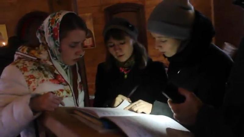 Катюшенька Кирбенева, наш ангелочек, сестрёнка во Христе, поет с ребятами в часовне Ефросиньи Полоцкой, 24.12.2017