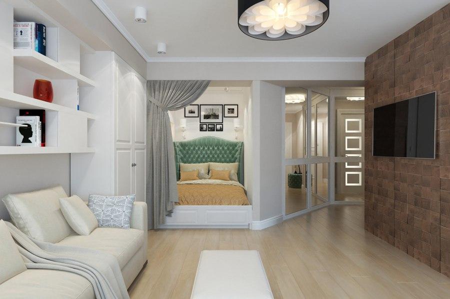 Проект студии из однокомнатной квартиры 38 м (без учета балкона).