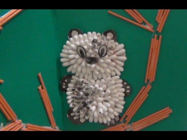 Панда - Поделки из ватных палочек для детей