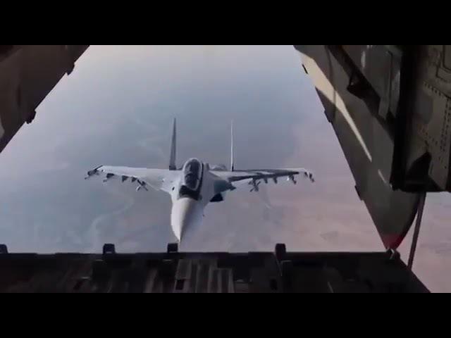 Сирия Су 30 совершил фантастический манёвр заглянув внутрь транспортного Ил 76
