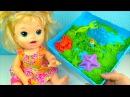 Кукла Пупсик Беби Элайв Играет в Кинетический Песок Сюрприз Игрушки Для детеи...