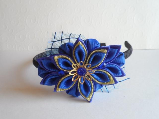 Синее Золото ободок Канзаши