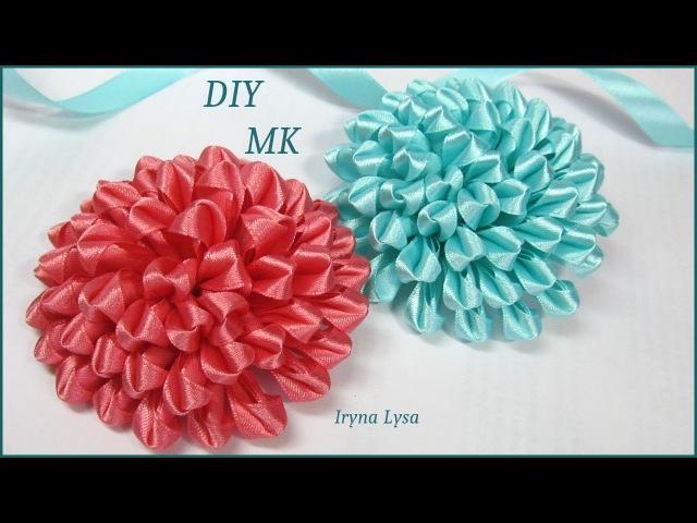 Цветок Из Узкой Ленты МК DIY Narrow Satin Ribbon Flower