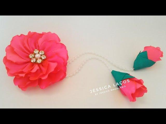 DIY Flor Encanto de Cetim - Satin Charm Flower - Цветок атласного очарования