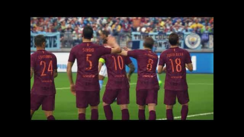 Barcelona vs Manchester City / UEFA Europa League 2018 / Gameplay PES 2018
