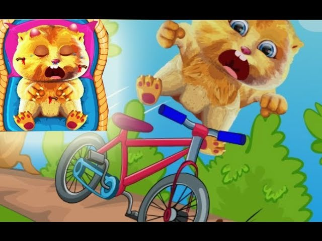 Talking Ginger Care - Cat Dropped off The bike Cartoon for Kids Video
