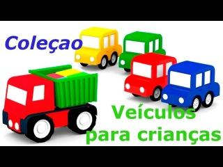4 carros coloridos. Veículos para crianças! Coleçao