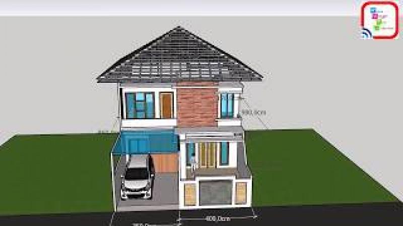 Fasad rumah 2 lantai luas 7,5 m x 14,5 m dengan 4 kamartidurfull view