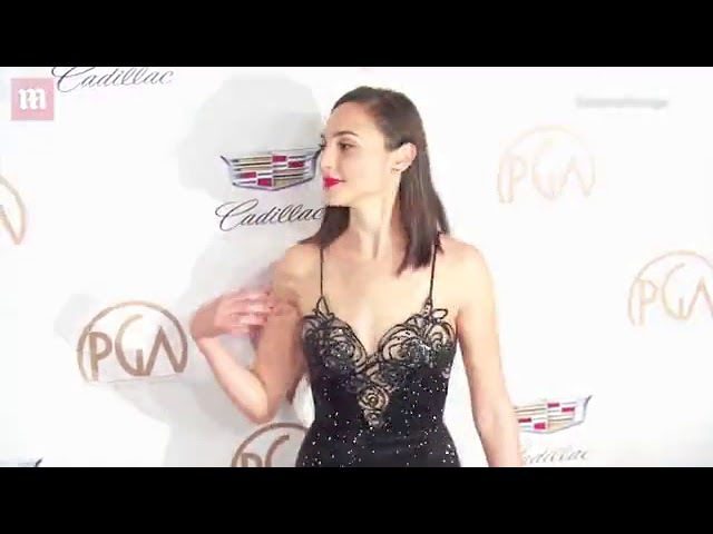 Beautiful in black! Gal Gadot in sparkly lace dress at PGAs