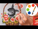 Easy way to paint a Bunny How to paint Easter Bunny painting by a flat brush
