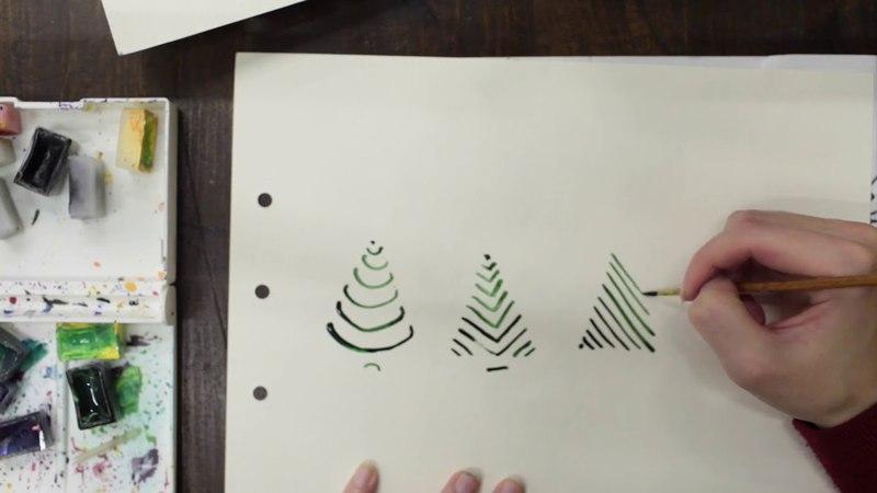 Рисуем елочку, 4 варианта