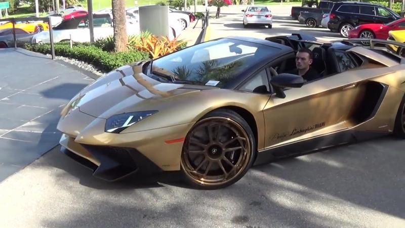 Lamborghini Aventador SV Superveloce Roadster ANGRY BULL Ride Acceleration Revs at lamborghini Miami