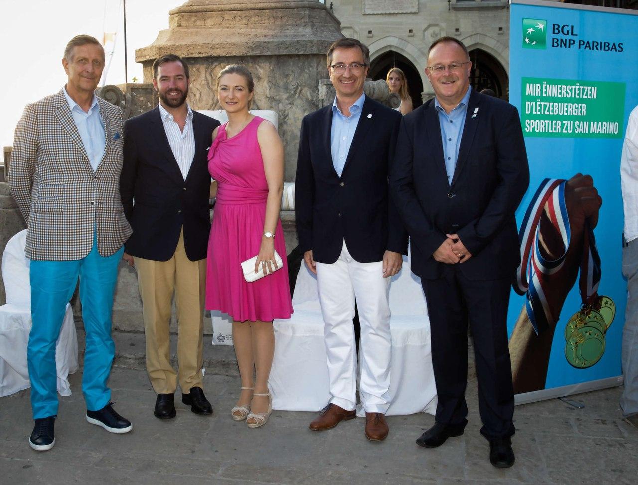 Наследные  Великие герцог и герцогиня на Играх в Сан-Марино.