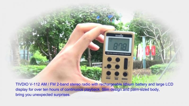Tivdio v-112 мини карман Радио FM AM 2 полосы Радио приемник Цифровая настройка с Перезаряжаемые Батарея и наушники