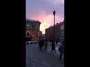 Закат зимой в городе