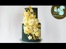 BLACK, GOLD ROSE BUTTERCREAM FLOWER CAKE   Cake Tutorial  