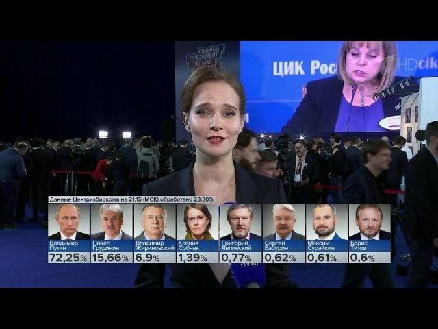 Вштабе Владимира Путина аплодисментами приветствовали предварительные данные оего победе. Новости. Первый канал