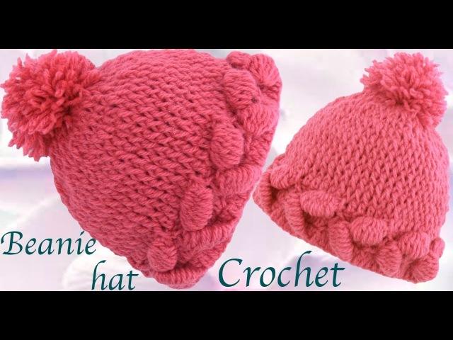 Gorro a Crochet punto tulipán en 3D paso a paso tejido tallermanualperu