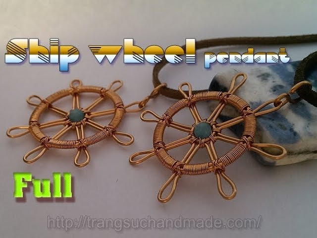 Copper wire ship wheel pendant with small stone - full version ( slow ) 331