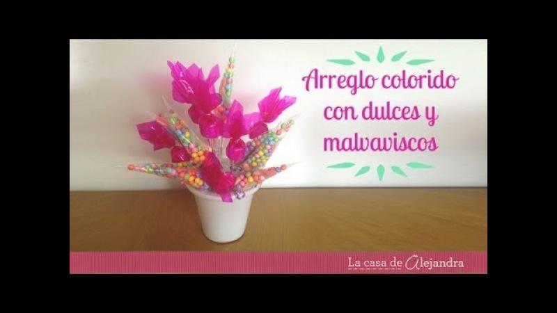 Arreglo con dulces y malvaviscos - DIY arrangement with candy marshmallow