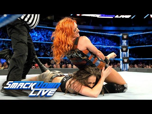 Video@rubyriottdaily   Becky Lynch Naomi vs. Liv Morgan Sarah Logan: SmackDown LIVE, March 20, 2018