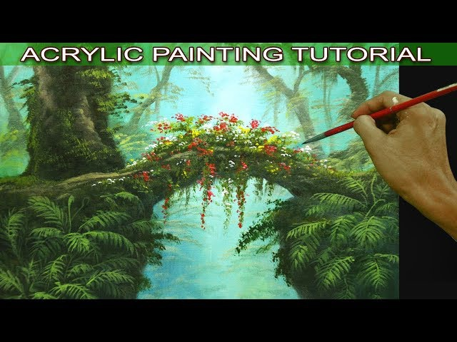 Acrylic Landscape Painting Tutorial Tropical Misty Forest with Hanging Plants, Flowers and Ferns